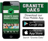 "iphone with screen showing Granite Oaks middle School. Text reads ""Granite Oaks, download our free mobile app"""